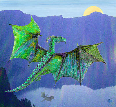 Digital Art - Green Water Crystal Soaring Celtic Dragon by Michele Avanti