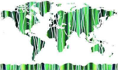 Painting - Green Watercolor Map Of The World by Irina Sztukowski