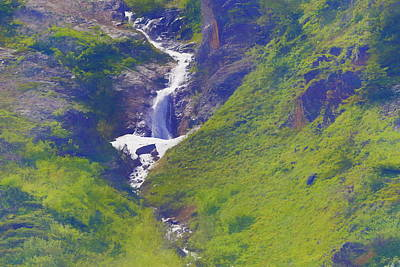 Mountain Ranges Mixed Media - Green Waterfall by Dan Sproul
