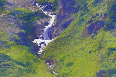 Yellowstone Mixed Media - Green Waterfall by Dan Sproul