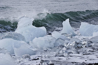 Photograph - Green Wave, Blue Ice by Michele Burgess
