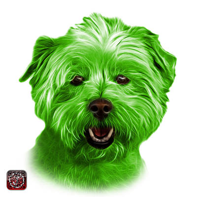 Mixed Media - Green West Highland Terrier Mix - 8674 - Wb by James Ahn