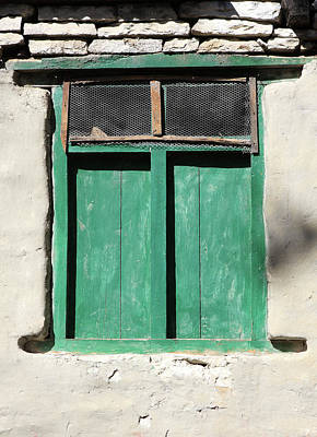 Green Window, Himalayan Village, Nepal Art Print by Aidan Moran