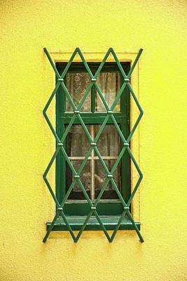 Photograph - Green Window On Yellow Wall by Hyuntae Kim