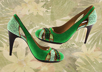 Stilettos Painting - Green With Envy Pumps by Elaine Plesser