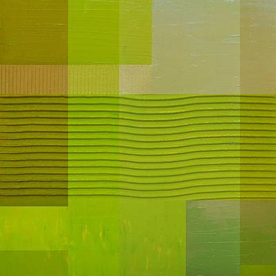 Painting - Green With Wavy Stripes by Michelle Calkins