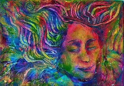 Windblown Painting - Green Woman by Lydia Erickson
