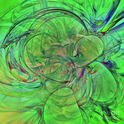 Digital Art - Green World Abstract by Deborah Benoit