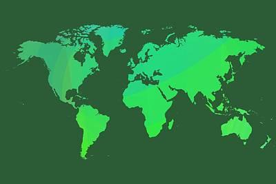 Green World Map Art Print