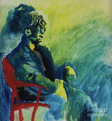Green Yellow And Blue Man In Red Chair Original