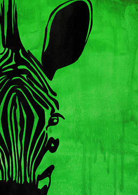 Green Zebra Animal Decorative Poster 3 - By Diana Van Art Print