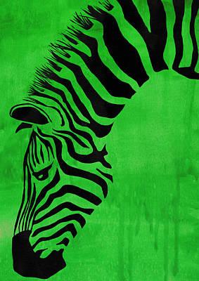 Green Zebra Animal Decorative Poster 4 - By Diana Van Art Print by Diana Van