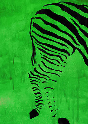 Green Zebra Animal Decorative Poster 8 - By Diana Van Art Print by Diana Van