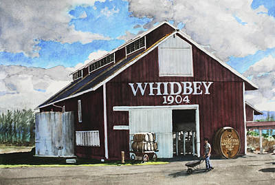 Old Barn Painting - Greenbank Farm by Perry Woodfin