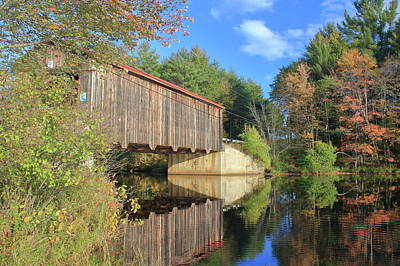 Photograph - Greenfield Covered Bridge And Contocook River by John Burk