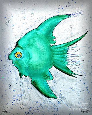 Art Print featuring the mixed media Greenfish by Walt Foegelle