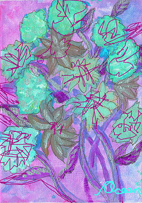 Painting - Greenish Flowers On Lavender by Ocean