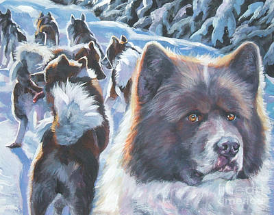 Raging Painting - Greenland Dog by Lee Ann Shepard