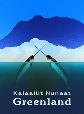 Monoceros Digital Art - Greenland - Narwhal by David Devoe