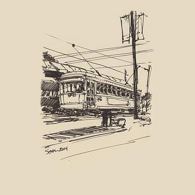 Drawing - Greenline by Sean McMenemy