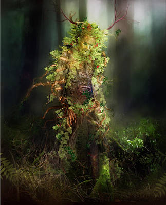 Tree Roots Digital Art - Greenman by Mary Hood