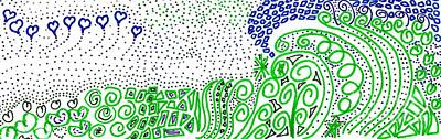 Drawing - Greens And Blues by Corinne Carroll