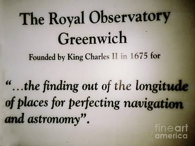 Photograph - Greenwich Observatory Sign In Greenwich, England by Merton Allen