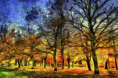 Mixed Media - Greenwich Park London Van Gogh by David Pyatt