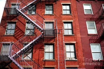 Nyc Fire Escapes Photograph - Greenwich Village Brick Design by John Rizzuto