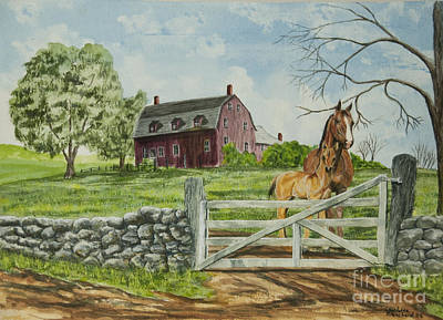 Old Barns Painting - Greeting At The Gate by Charlotte Blanchard