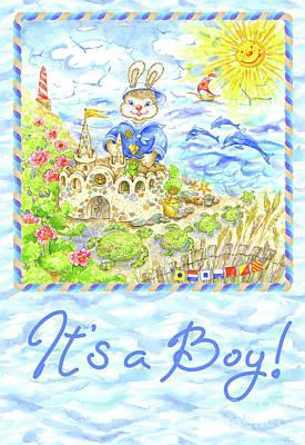 Wall Art - Painting - Greeting Card Bunny On The Beach by Svetlana Titarenko