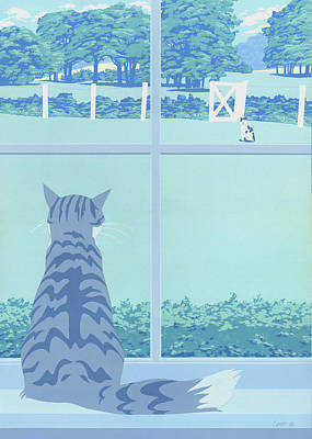 Greeting Card - Cats Staring Art Print