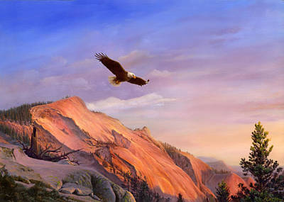 Pride Painting - Greeting Card - Flying American Bald Eagle Mountain Landscape Painting  by Walt Curlee
