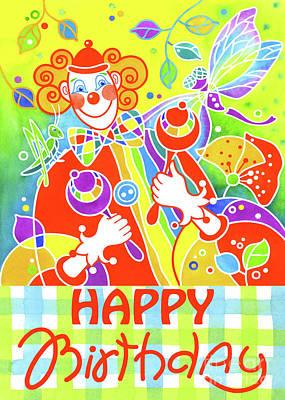 Wall Art - Painting - Greeting Card Musical Clown 7 by Svetlana Titarenko
