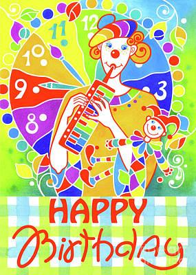 Wall Art - Painting - Greeting Card Musical Clown 9  by Svetlana Titarenko