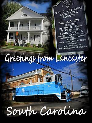 Photograph - Greeting From Lancaster Sc Vertical White Text by Joseph C Hinson Photography