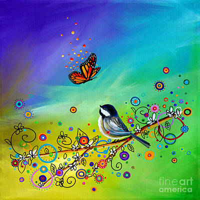 Chickadee Painting - Greetings by Cindy Thornton