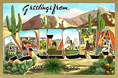 Photograph - Greetings From Arizona by Vintage Collections Cites and States
