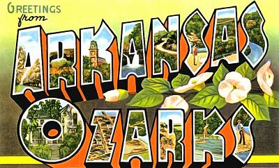Photograph - Greetings From Arkansas Ozarks by Vintage Collections Cites and States