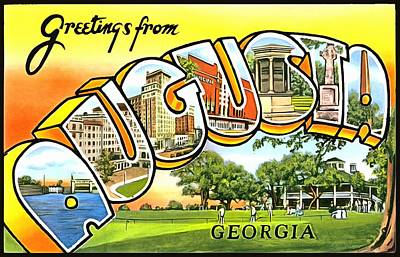 Photograph - Greetings From Augusta Georgia by Vintage Collections Cites and States
