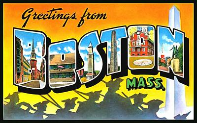 Photograph - Greetings From Boston Massachusetts by Vintage Collections Cites and States