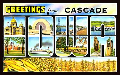 Photograph - Greetings From Cascade Iowa by Vintage Collections Cites and States
