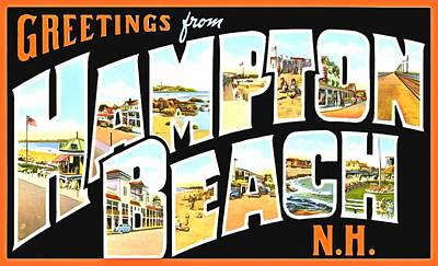 Photograph - Greetings From Hampton Beach New Hampshire by Vintage Collections Cites and States