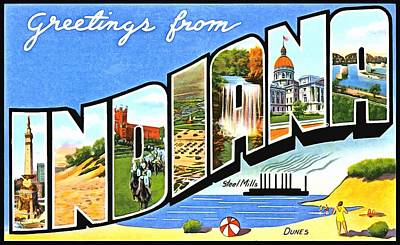 Photograph - Greetings From Indiana by Vintage Collections Cites and States