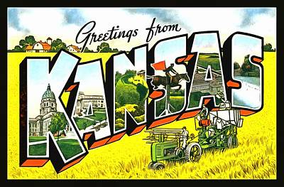 Photograph - Greetings From Kansas by Vintage Collections Cites and States