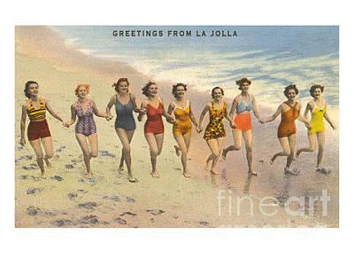 La Jolla Art Painting - Greetings From La Jolla by Nostalgic Prints