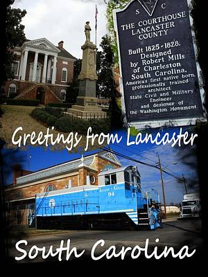 Photograph - Greetings From Lancaster Sc Vertical White Text by Joseph C Hinson Photography