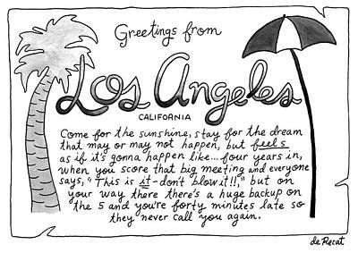 Interview Drawing - Greetings From Los Angeles by Olivia de Recat