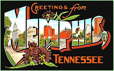 Photograph - Greetings From Memphis Tennessee by Vintage Collections Cites and States