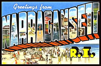Photograph - Greetings From Narragansett Rhode Island by Vintage Collections Cites and States